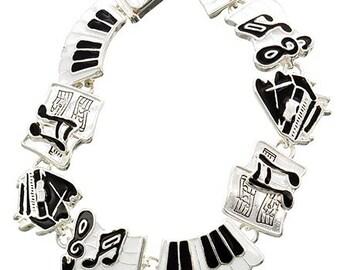 Sale| Musical Charm Bracelet - Instrument Charm Bracelet - Black and White - Music Theme - Musician - Teacher Gift - Musical Notes