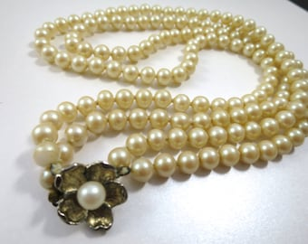 Vintage Glass Pearl Necklace 24 inches Long 9 mm Pearls Flower Clasp Marked Japan Hand Knotted Double Strand Classic Pearls 1950's