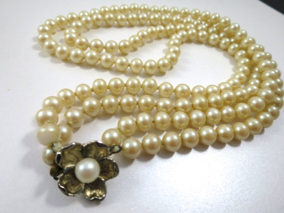 Japanese pearl jewelry : Japan glass pearl necklace inches long by