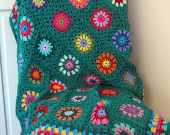 "Sunburst Granny Squares Blanket Jade Sofa Throw 50"" x 50"" Crochet"
