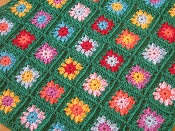 Crochet Pattern Vintage Style Ruby Retro or Emerald Granny Squares Blanket PDF