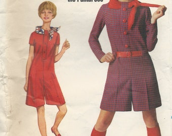 1960s Vintage One-Piece PANTDRESS Sewing Pattern, Bust 34 - FaCTORY FoLDED