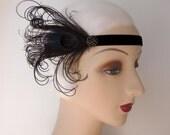 1920's headband flapper headband costume headband black with cruelty free black peacock feathers and rhinestone button