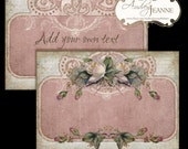 Tattered Vintage Roses digital collage sheet E14-06A 5x7 card, 4x6 postcard, bookmark, baroque wedding pink cream printable shabby chic rose
