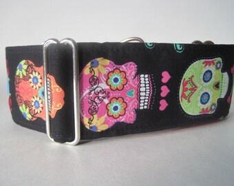 Sugar Skulls Martingale Collar, Day of the Dead Martingale Collar, Calaveras, Greyhound Collar, Pink Dog Collar, 2 Inch Martingale Collar