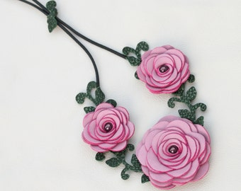 Flower necklace leather necklace choker mauve roses leather jewelry mixed media jewelry wedding accessories prom wearable art