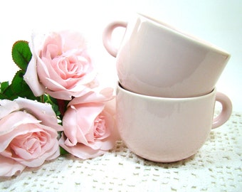 Cottage Chic Pale Pink Cups, Stoneware Coffee Cups, Pink Tea Cups, Restaurant Diner Cups, Country Farmhouse Table Decor Set of Two Pink Mugs