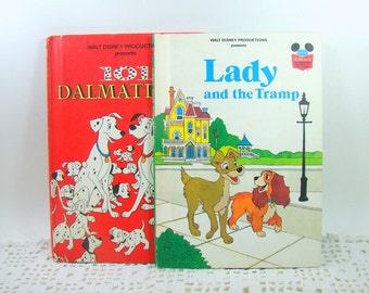 Disney Books Lady and the Tramp and 101 Dalmatians, Walt Disney Book Club Edition, Vintage Childrens Books, Young Readers Storybook, 1980s