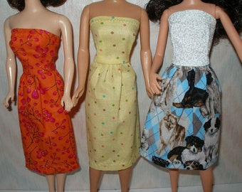 "Handmade 11.5"" Fashion doll clothes - set of 3 strapless dresses"
