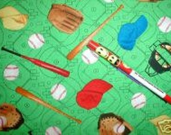 Baseball fabric with sports balls bats gloves diamond cotton print sewing quilting material by the yard bty,  fabric with baseball