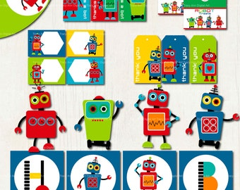 Printable Robot Party Set  - Birthday Banner,  Cupcake Toppers, Hats and more. Instant Download - Set 2