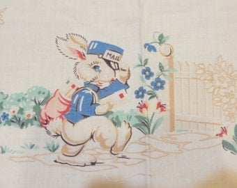 Vintage Cotton Fabric with Cute Baby AnimalsBunnies-Bluebirds-Puppies-Pigs-Birds-Childrens Apron-Smock-Old Stock-Easter-Nursery-ADORABLE