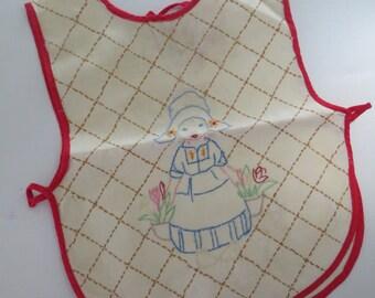 Vintage Embroidered-Baby Bib-Dutch Girl