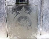 Vintage Vanity Bottle Etched Glass