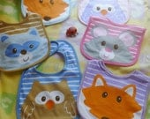 Woodland Themed Baby Shower..Baby Fox..Baby Owl..Baby Raccoon..Baby Mouse..Adorable Baby Bib, Baby Washcloths..Baby Cakes..Baby Gift