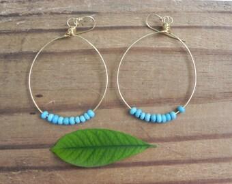 Beaded super hoop earrings with blue glass seed beads, thin bohemian super hoops