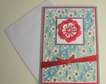 Mothers Day Card Birthday Card Any Occasion Customizable Card Light Blue and Red Floral Washi Paper Blank Inside- Choose Sentiment on Front
