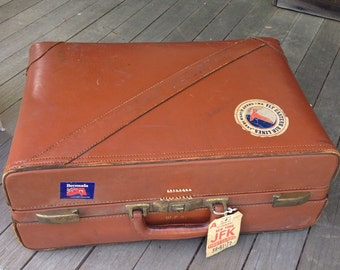Leather Suitcase 1940's Luggage for display or storage or prop
