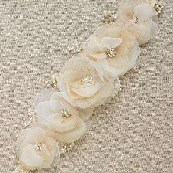 Sash Bridal, wedding champagne floral sash belt, beige nude latte tan ivory 5 flower, rustic vintahe corsage, ribbon belt lace STYLE RN5-103