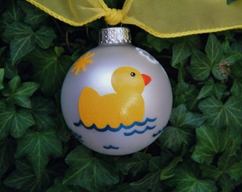 Yellow Duck Ornament, Nursery Decor - Personalized for Newborn or Baby Shower Gift - Hand Painted Bauble, Duckie, Duck Birthday Party