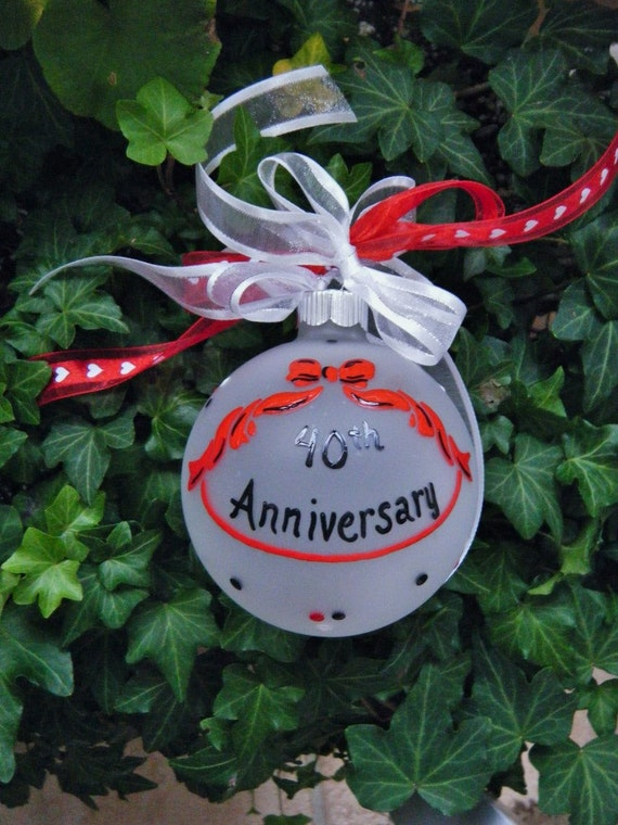 25th Anniversary Ornament Personalized Hand painted Glass