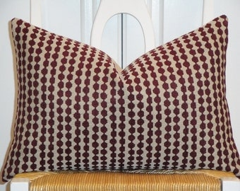 Decorative Pillow Cover - Chenille Accent - Dot Geometric - Stripe - Maroon Dark Red and Tan - Sofa Pillow - Square or Lumbar