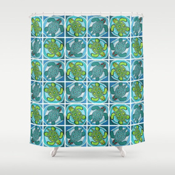 Items Similar To Shower Curtain Funky Turtles Bathroom Decor Teal Blue