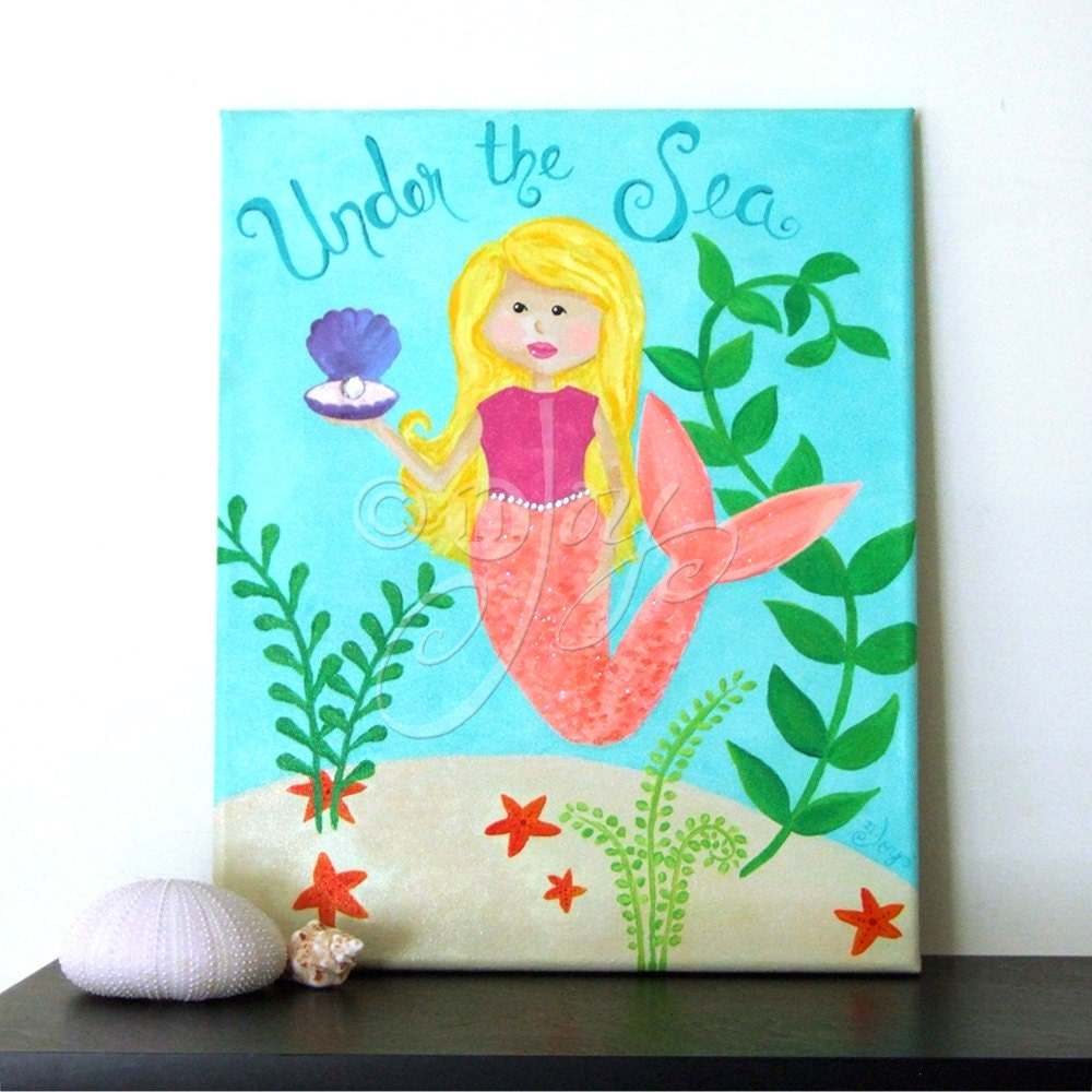 Mermaid Art For Kids Under The Sea 11x14 Childrens Painting
