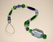 Blue and green suncatcher beaded glass for window or garden art, yard art, garden decor 12 1/2 inches long