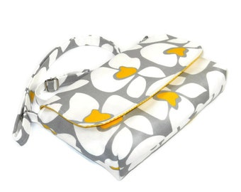 Small Hip Purse, Mini Cross Body Bag, Cotton Fabric Handbag, Yellow Gray and White Floral - Premier Helen Print - Long Adjustable Strap