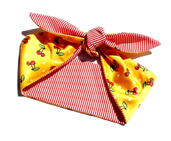 Vintage Inspired Head Scarf Yellow with Cherries por OhHoneyHush