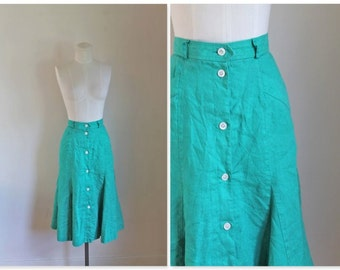 50% OFF...last call // vintage linen skirt - MERMAID MINT 80s button front flare skirt / xs
