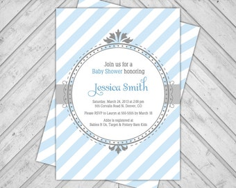 Baby shower boy invitations - printable baby shower invites - blue and gray baby shower - stripes - WLP00774