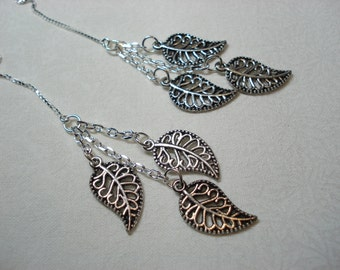Silver Leaf Trios on Sterling Ear Threads-Threader Earrings/Necklace-FREE SHIPPING To U.S.-