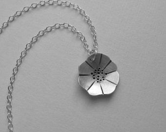 Poppy Necklace (N6) silver flower pendant oxidized artisan handmade