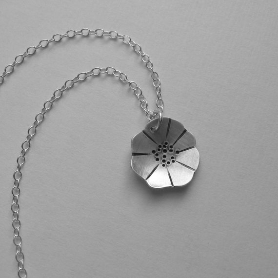 Poppy Necklace (N6) silver flower pendant oxidized artisan handmade