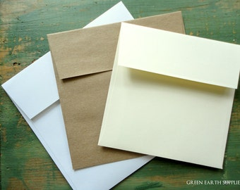 "100 Square Envelopes, 5"", 5.25"", 5.5"" or 5.75"" (127, 133, 140, or 146mm) kraft brown, bright white or ivory, recycled envelopes sticker flap"