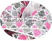 Damask glitter ribbon 5 yards- 7/8 inch grosgrain from Valentine's Day Collection US designer ribbon