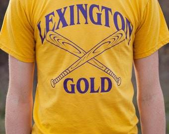 vintage mens unisex small yellow 00 lexington gold crew neck t shirt