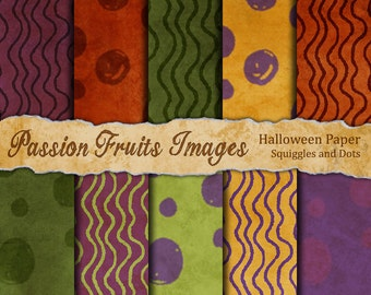 Halloween Squiggles and Dots 10 Piece digital paper pack