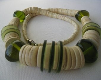 Vintage Etnic Bone and Green Beads Necklace
