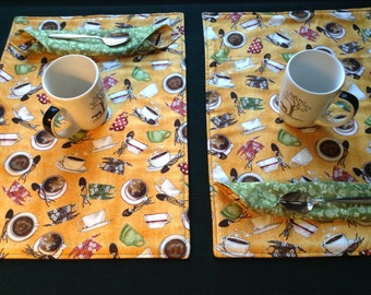 COFFEE LOVER Placemat and Cloth Napkin Set, 2 Reversible Placemats with Matching Napkins, Handmade, OOAK