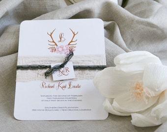 Rustic Wedding Invitation,Woodland EWdding Invitations,Antler Monogram Invitations, Western Wedding Invitation, Country Chic Wedding Invites