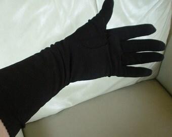 Exquisite Vintage CRESENDO Long Ladies BLACK Gloves Mid Century Classics Size 6 1/2