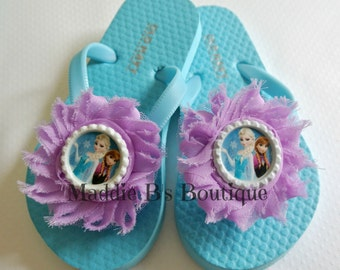 New Toddler flip flops-Shabby flower flops-FROZEN-Elsa Anna Blue purple flip flops Disney shoes -made by Maddie B's Boutique on Etsy