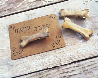 Polymer clay realistic  bone hair clip