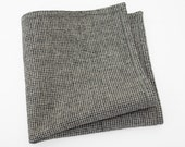 Men's Wool Pocket Square in a soft grid of black, gray, and white