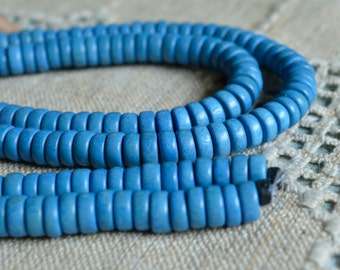 Wood Beads Rondelle Light Blue 8x4mm Flat Disc Round Coin 16x2 Inches Strand