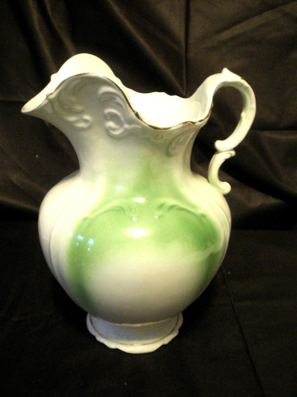 vintage vitreous pitcher and bowl set. Black Bedroom Furniture Sets. Home Design Ideas