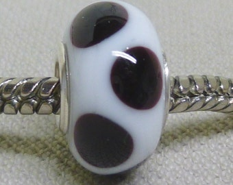 Handmade Lampwork Bead European Charm Bead White with Black Dots Silver Cored